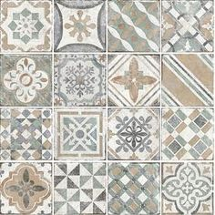 FLOORS 2000 Variations Beige x Porcelain Floor Tile (Common: x Actual: x at Lowe's. Beautiful encaustic porcelain tile that depicts old world style with a contemporary flare. This tile contains eighteen random designs that look like hand Painting Concrete, Concrete Tiles, Bathroom Flooring, Kitchen Flooring, Shower Floor, Tile Floor, Fireplace Facade, Mosaic Patterns, Rug Patterns