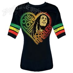This black football tee features Bob Marley One Love. Bob Marley is pictured inside a heart with One Love, Bob Marley