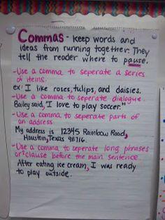 Commas My Life as a Third Grade Teacher 3rd Grade Writing, Middle School Writing, Third Grade, Grade 3, Teaching Grammar, Teaching Writing, Teaching Ideas, Writing Activities, Teaching English