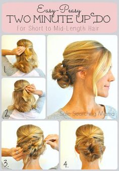 Sole Searching Mama: An Easy-Peasy Two-Minute Updo For Short To Mid-Length Hair - Modern Short Fine Hair Updo, Updos For Medium Length Hair, Short Hair Lengths, Short Thin Hair, Mid Length Hair, Shoulder Length Hair, Medium Hair Styles, Short Hair Styles, High Bun Hairstyles