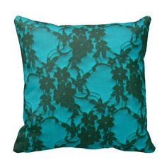 Elegant Teal Brown Vintage Floral French Lace Pillows  | Visit the Zazzle Site for More: http://www.zazzle.com/?rf=238228028496470081 [Referral Link]