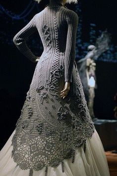 [Knitted/crocheted dress by Jean Paul Gaultier] Ms. Von Teese needs to hunt her friend Jean Paul Gaultier down and make him give her this sweater. Beau Crochet, Irish Crochet, Knit Crochet, Knit Lace, Crochet Sweaters, Crochet Cardigan, Knitted Shawls, Look Fashion, Womens Fashion