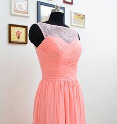 Long Illusion Neckline Coral Lace Bridesmaids Dresses
