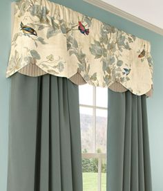 Aviary Lined Layered Scalloped Valances: I covet this. I have received a sample and the bird print would look great in my antique home!