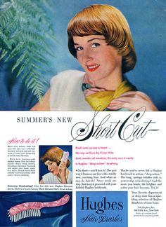 Summer's new short cut (1948). She was channeling Dorothy Hammil's iconic 'do three decades before it became all the rage. :) #vintage #1940s #hair #short_styles #ads