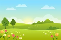 Gradient spring landscape with field Fre. Kids Background, Landscape Background, Cartoon Background, Animation Background, Vector Background, Green Scenery, Powerpoint Background Design, Landscape Concept, Chroma Key