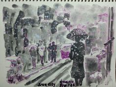 Snow city  drawing  by Zho.r.자강