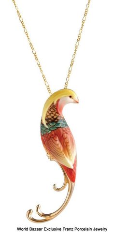 FJ00334 Franz Porcelain jewelry charm golden pheasant necklace gold plated