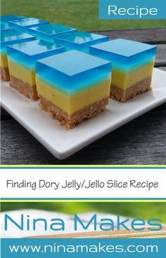 Finding Dory Jelly Jello Slice Recipe - Easy No Bake on Nina Makes Dory Cake, Slice Recipe, Jello Recipes, Finding Dory, Party Treats, Fun Desserts, Sweet Recipes, Yummy Treats, Kid Birthdays
