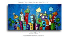 Acrylic painting on canvas, fantasy skyline, nocturnal cityscape