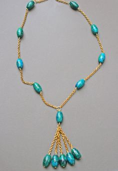 Chrysocolla Necklace gold plated chain turquoise by Blitzrider, $25.99