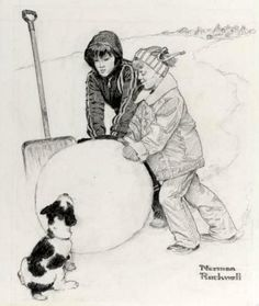 Two Boys Building A Snowman