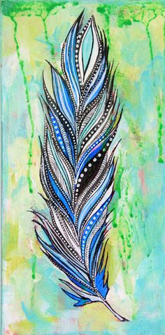 Alisa Burke — feather original painting. Blue aqua teal turquoise zentangle style
