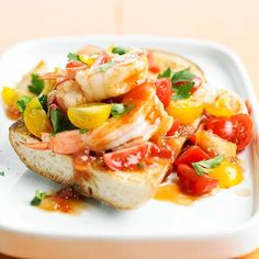 Shrimp Bruschetta Salad  French bread is toasted and topped with shrimp, cherry tomatoes, Italian parsley, and Asian sweet red chili sauce
