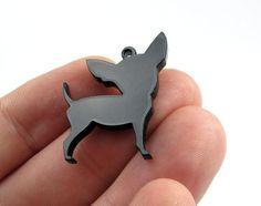 Chihuahua Dog Charms Qty 4 Laser cut black by LaserCutSupplies, $6.00