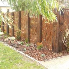 Ideas Garden Fence Screening Tuin For 2019 Garden Privacy, Garden Fencing, Decks, Sleepers In Garden, Backyard Pergola, Metal Pergola, Curved Pergola, Pool Fence, Wooden Pergola