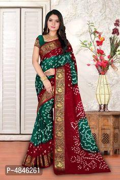 Art silk bandhni saree with blouse piece New Blouse Designs, Saree Blouse Designs, Bandhini Saree, Sarees For Girls, Trendy Sarees, Casual Saree, Traditional Sarees, Half Saree, Saree Wedding