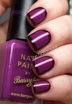 Purple polish & outlined nails