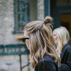 half bun hairstyle