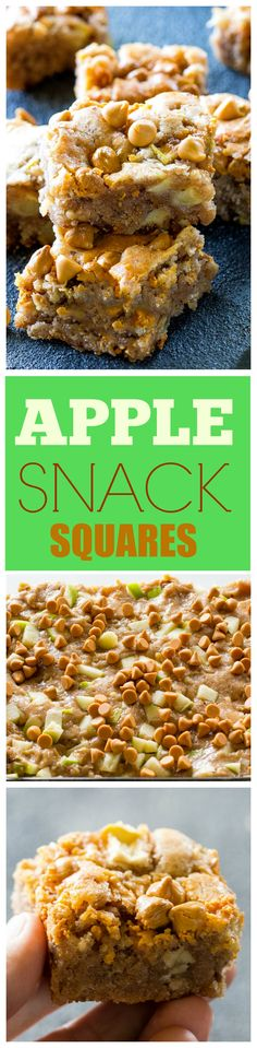 Apple Snack Squares - a dense apple and walnut square that is topped with butter. Apple Snack Squares - a dense apple and walnut square that is topped with butterscotch chips. the-girl Apple Snacks, Apple Desserts, Apple Recipes, Baking Recipes, Holiday Recipes, Dessert Recipes, Cookie Recipes, Breakfast Recipes, Snack Recipes
