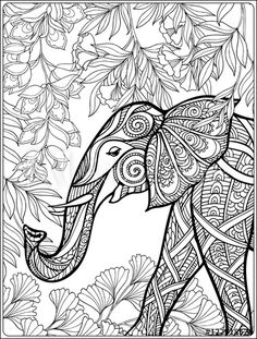 Coloring Page With Elephant In Forest