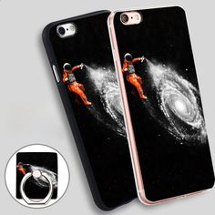 IOP Space Art Back Phone Ring Holder Soft TPU Silicone Case Cover for iPhone 4 4S 5C 5 SE 5S 6 6S 7 Plus