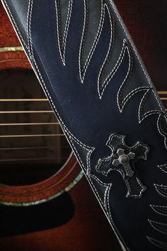Blue guitar strap, leather guitar strap: Blue Avenger Guitar Strap