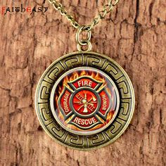 Faitheasy Wholese Drop Shipping Vintage Jewelry US Firefighter Charm Retro Necklace Pendant Long Chain Clothing Accessories #Affiliate