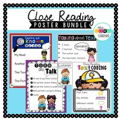 Close reading posters for classrooms. A great tool to help students talk about text, define vocabulary words, code text, and practice speaking and listening. Reading Strategies, Reading Activities, Guided Reading, Classroom Activities, Reading Comprehension, Close Reading Poster, Reading Posters, Creative Teaching, Teaching Ideas