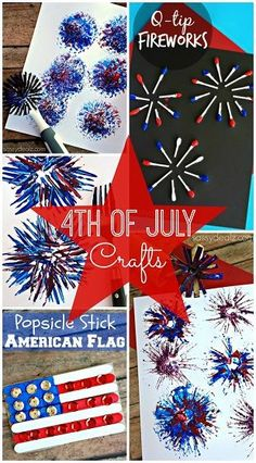 Have your kids make these fun 4th of july crafts and patriotic art projects! They are easy and cheap to make including fireworks, flags, and more red white & blue things!