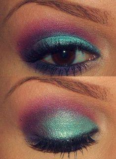 style eye make-up, pink, purple turquoise eye shadow. Purple Eye Makeup, Love Makeup, Makeup Tips, Makeup Looks, Hair Makeup, Purple Eyeshadow, Eyeshadow Makeup, Peacock Makeup, Mermaid Makeup