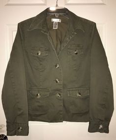 Isaac Mizrahi For Target XL Olive Green Military Jacket Coat Front Packets Butto  | eBay