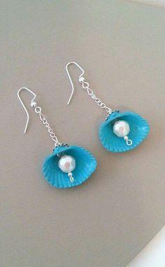 Sea Jewelry, Seashell Jewelry, Seashell Crafts, Fabric Jewelry, Jewelry Crafts, Beaded Jewelry, Jewellery, Shell Earrings, Bead Earrings