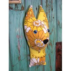 Fake taxidermy , shabby chic. Cat lady.  Cat  trophy head. Vintage retro yellow fabric.  Fabric animal head.
