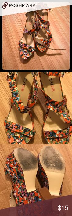"""JustFab Floral Heels Crisscross strap high heels. 4"""" height with platform. Comfortable. Worn once to an outdoor wedding. JustFab Shoes Platforms"""