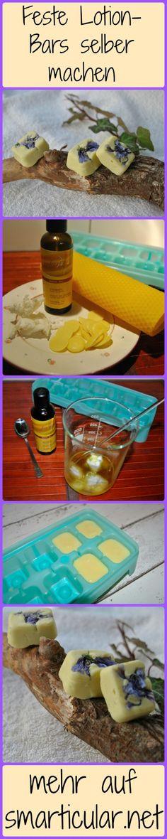 Feste Lotion Bars machst du schnell und einfach selber in der Küche! Natürliche Hautpflege für unterwegs mit fantastischen Zutaten!