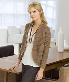 Roundabout Cardigan Crochet Pattern.  Uses 6-9 skeins of Red Heart Eco-Ways yarn depending on size (S-XL).