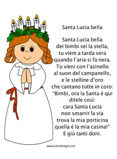 Filastrocca Santa Lucia bella - TuttoDisegni.com Christmas Books, 1st Christmas, Xmas, Santa Lucia, Stella Lucia, Diy And Crafts, Crafts For Kids, Halloween Pin Up, Winter Cards