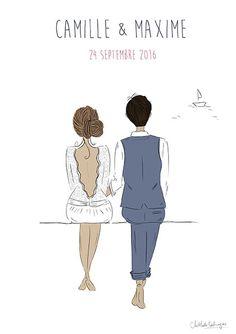 #fairepart #mariage #announcement #wedding #papeterie #stationery #illustration #dessin #draw #personnalisé #mer #bateau #romantique