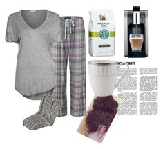 """morning Starbucks & Newspaper?"" by josieelese ❤ liked on Polyvore featuring Lauren Ralph Lauren, P.J. Salvage, Starbucks and H&M"