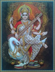 Saraswati with veena seated on her swan Shiva Art, Krishna Art, Shiva Shakti, Hindu Art, Divine Mother, Mother Goddess, Indian Gods, Indian Art, Spirituality