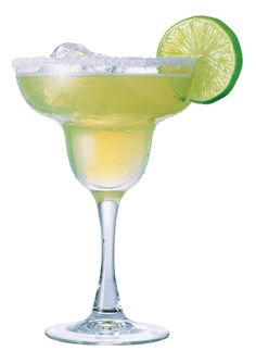 Margarita = Tequila 1.5 + Triple Sec(White curacao) 0.5 + Lime Juice 0.5 / Lots of variations. Shaking. Salt-rimmed Margarita glass. With Ice or Crushed ice. Feel the Latin!