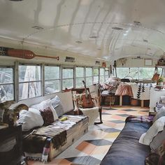 This makes us want to buy a school bus & gut it!  #tinyhouse #tinyliving #interiordesign #interiorinspo #offthegrid #wanderlust by driftwood_jeans