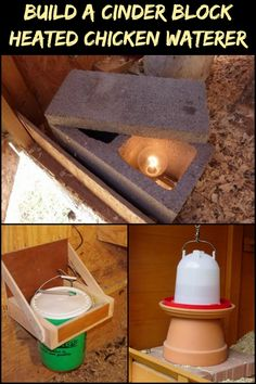 Build a Cinder Block Waterer Heater to Keep Your Chooks' Water from Freezing During the Winter! Heated Chicken Waterer, Portable Chicken Coop, Backyard Chicken Coops, Chicken Coop Plans, Building A Chicken Coop, Diy Chicken Coop, Backyard Farming, Chickens Backyard, Chicken Water Heater