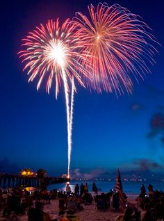 Fourth of July fireworks at the Naples Pier - a must-do! Naples Pier, Naples Florida, Stock Pictures, Stock Photos, Wedding Fireworks, Happy Fourth Of July, July 4th, Marco Island, White Sand Beach
