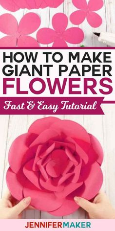 How to Make Giant Paper Flowers Fast and Easy | Free Pattern and SVG Cut File Tutorail | #paperflowers #papercrafts #cricut #silhouette