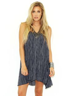 Olivaceous Go your Own Way Dress in Blue/White