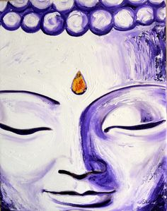Purple Buddha Face Original Oil Painting by sheriwiseman on Etsy