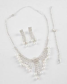 Silver Tone / Clear Rhinestone & White Synthetic Pearl / Lead Compliant / Necklace, Post Earring & Bracelet Set