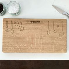 Personalised Wooden Utensils Chopping Board by Urban Twist, the perfect gift for Explore more unique gifts in our curated marketplace. Oak Chopping Board, Wooden Chopping Boards, Family Tree Wall, Tree Wall Art, Personalised Chopping Board, Chalk Pencil, Old Wood, Solid Oak, Utensils